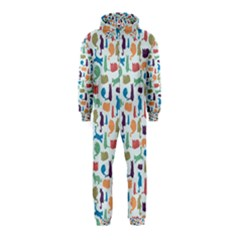 Blue Colorful Cats Silhouettes Pattern Hooded Jumpsuit (Kids)