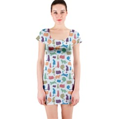 Blue Colorful Cats Silhouettes Pattern Short Sleeve Bodycon Dresses