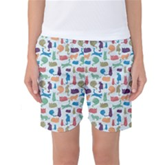 Blue Colorful Cats Silhouettes Pattern Women s Basketball Shorts