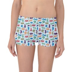 Blue Colorful Cats Silhouettes Pattern Boyleg Bikini Bottoms