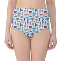Blue Colorful Cats Silhouettes Pattern High-Waist Bikini Bottoms