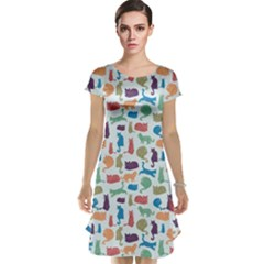 Blue Colorful Cats Silhouettes Pattern Cap Sleeve Nightdresses