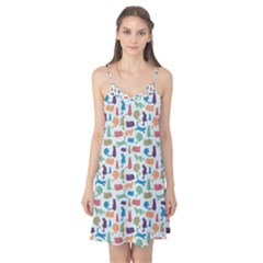 Blue Colorful Cats Silhouettes Pattern Camis Nightgown