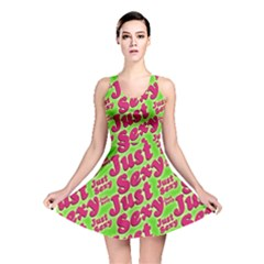 Just Sexy Quote Typographic Pattern Reversible Skater Dresses