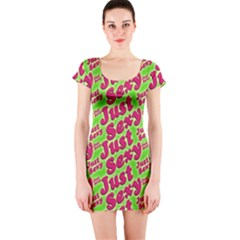 Just Sexy Quote Typographic Pattern Short Sleeve Bodycon Dresses