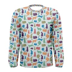 Blue Colorful Cats Silhouettes Pattern Men s Long Sleeve T-shirts