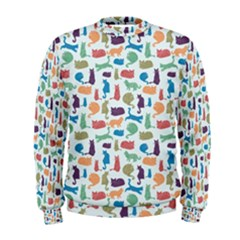 Blue Colorful Cats Silhouettes Pattern Men s Sweatshirts