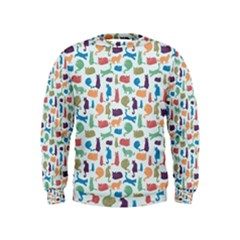 Blue Colorful Cats Silhouettes Pattern Boys  Sweatshirts