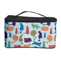 Blue Colorful Cats Silhouettes Pattern Cosmetic Storage Cases