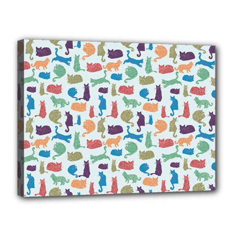 Blue Colorful Cats Silhouettes Pattern Canvas 16  X 12