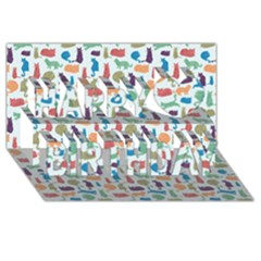 Blue Colorful Cats Silhouettes Pattern Happy Birthday 3D Greeting Card (8x4)