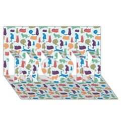 Blue Colorful Cats Silhouettes Pattern MOM 3D Greeting Card (8x4)