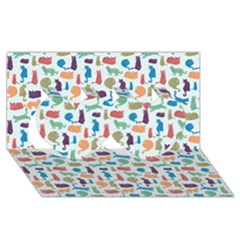 Blue Colorful Cats Silhouettes Pattern Twin Hearts 3D Greeting Card (8x4)