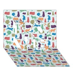 Blue Colorful Cats Silhouettes Pattern Love 3d Greeting Card (7x5)