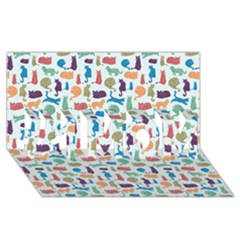 Blue Colorful Cats Silhouettes Pattern #1 Mom 3d Greeting Cards (8x4)