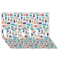 Blue Colorful Cats Silhouettes Pattern BEST BRO 3D Greeting Card (8x4)