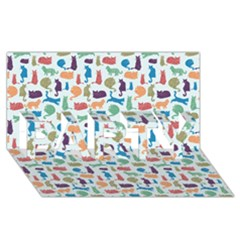 Blue Colorful Cats Silhouettes Pattern PARTY 3D Greeting Card (8x4)