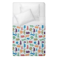 Blue Colorful Cats Silhouettes Pattern Duvet Cover Single Side (single Size)