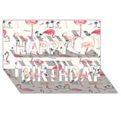 Flamingo Pattern Happy Birthday 3D Greeting Card (8x4)