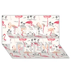 Flamingo Pattern Best Friends 3D Greeting Card (8x4)