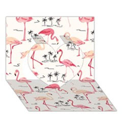 Flamingo Pattern Heart 3d Greeting Card (7x5)