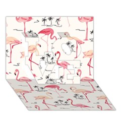 Flamingo Pattern LOVE 3D Greeting Card (7x5)