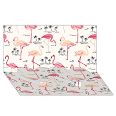 Flamingo Pattern Twin Heart Bottom 3D Greeting Card (8x4)