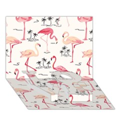 Flamingo Pattern LOVE Bottom 3D Greeting Card (7x5)