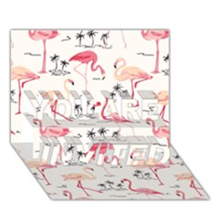 Flamingo Pattern You Are Invited 3d Greeting Card (7x5)