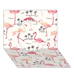 Flamingo Pattern Circle 3d Greeting Card (7x5)