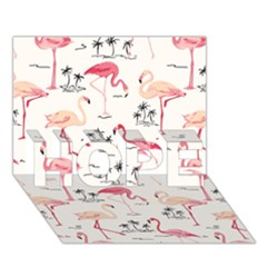 Flamingo Pattern HOPE 3D Greeting Card (7x5)
