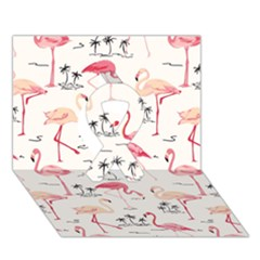 Flamingo Pattern Ribbon 3d Greeting Card (7x5)
