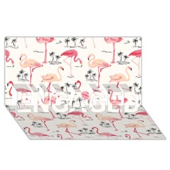 Flamingo Pattern Engaged 3d Greeting Card (8x4)