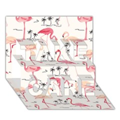 Flamingo Pattern TAKE CARE 3D Greeting Card (7x5)
