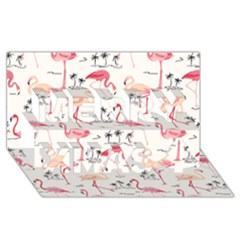 Flamingo Pattern Merry Xmas 3D Greeting Card (8x4)