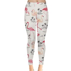 Flamingo Pattern Winter Leggings