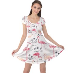 Flamingo Pattern Cap Sleeve Dresses