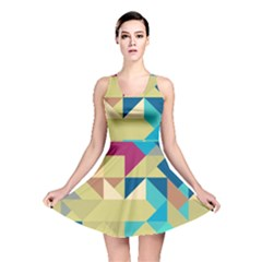 Scattered pieces in retro colors Reversible Skater Dress