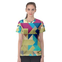 Scattered pieces in retro colors Women s Sport Mesh Tee