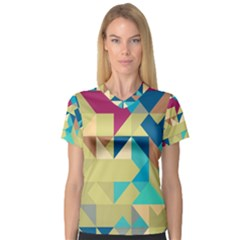 Scattered pieces in retro colors Women s V-Neck Sport Mesh Tee