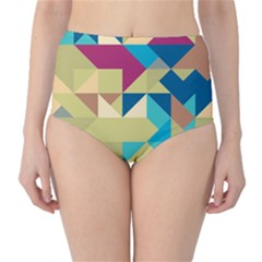 Scattered pieces in retro colors High-Waist Bikini Bottoms