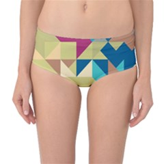 Scattered pieces in retro colors Mid-Waist Bikini Bottoms