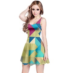 Scattered pieces in retro colors Sleeveless Dress