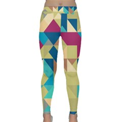 Scattered Pieces In Retro Colors Yoga Leggings