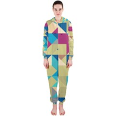 Scattered pieces in retro colors Hooded OnePiece Jumpsuit