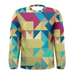 Scattered pieces in retro colors Men Long Sleeve T-shirt