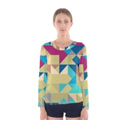 Scattered pieces in retro colors Women Long Sleeve T-shirt