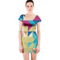 Scattered pieces in retro colors Short sleeve Bodycon dress