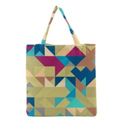 Scattered pieces in retro colors Grocery Tote Bag