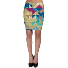 Scattered Pieces In Retro Colors Bodycon Skirt